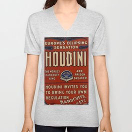 Poster Harry Houdini Unisex V-Neck
