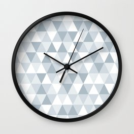 shades of ice gray triangles pattern Wall Clock