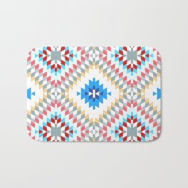 Colorful patchwork mosaic oriental kilim rug with traditional folk geometric ornament Bath Mat