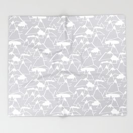 Mountain Scene in Grey Throw Blanket