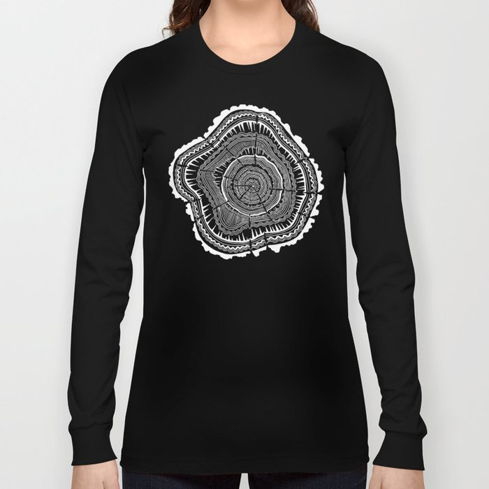 eedff2e6 Growth Rings – 65 Years – Black Long Sleeve T-shirt by catcoq | Society6