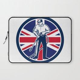 British Pressure Washing Union Jack Flag Circle Retro Laptop Sleeve