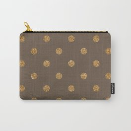 Umber Gold Glitter Dot Pattern Carry-All Pouch