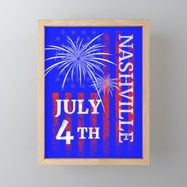 Nashville TN 4th of July Independence Day Framed Mini Art Print