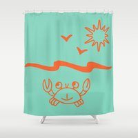 crab Shower Curtains featuring crab by gzm_guvenc