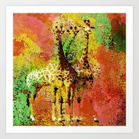 giraffe Art Prints featuring Giraffe  by Saundra Myles