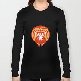 Orangutan Bearded Front Retro Long Sleeve T-shirt