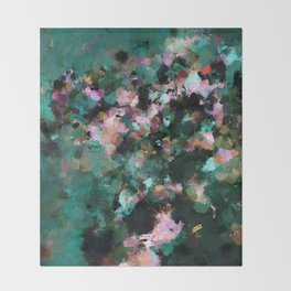 Contemporary Abstract Wall Art in Green / Teal Color Throw Blanket