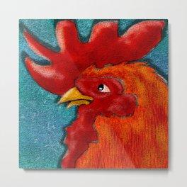 Folk Art Rooster Metal Print