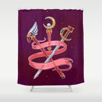magical girl Shower Curtains featuring Fight Like a Magical Girl by Unbearable Bear