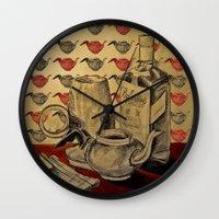 whiskey Wall Clocks featuring Tea & Whiskey by Ela Caglar