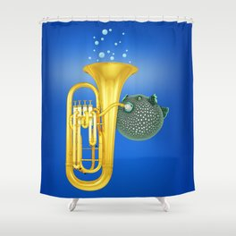 Puffer Fish Playing Tuba Shower Curtain
