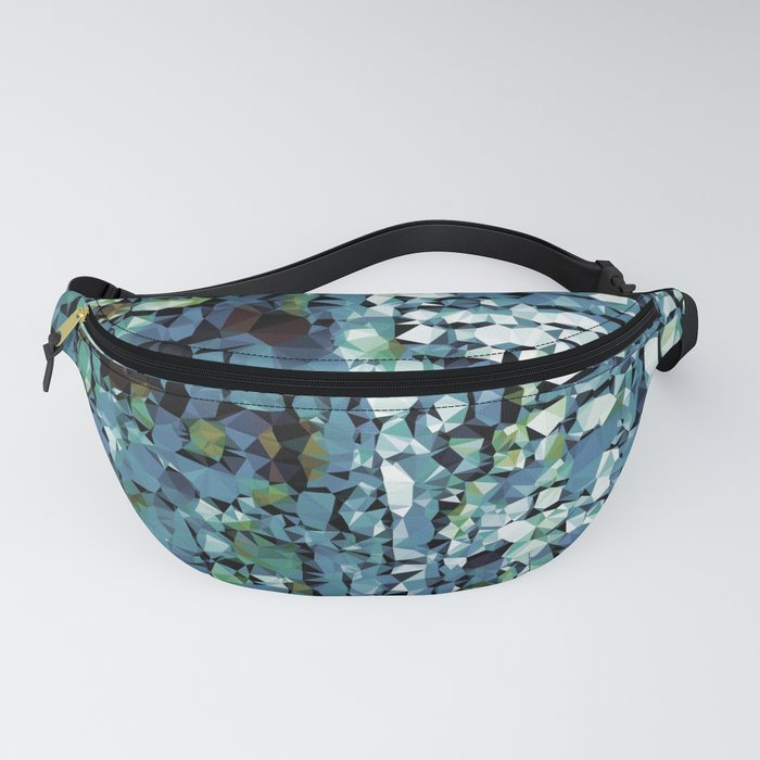 Blue Green Abstract Geometric Low Poly Modern Art Fanny Pack