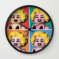 marilyn Wall Clocks featuring Marilyn by powerpig