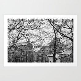 Winter Scenic of Castle Street, Lancaster. Art Print