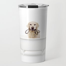 Golden Retriever in a Vintage Bathtub Travel Mug