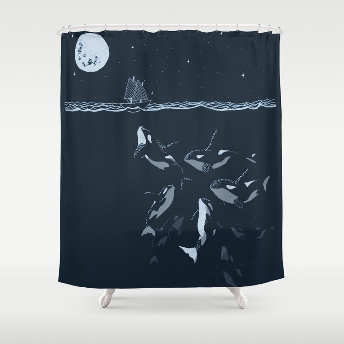 Pod Of Killer Whale Orca And Small Boat In Midnight Ocean Scene Shower Curtain