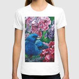 Indigo Bunting Colored Pencil Bird Artwork Drawing T-shirt