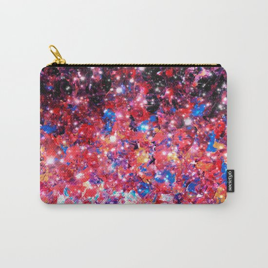 WRAPPED IN STARLIGHT Bold Colorful Abstract Acrylic Painting Galaxy Stars Pink Red Purple Ombre Sky Carry-All Pouch