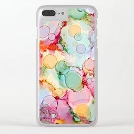 Rainbow Bubbles Clear iPhone Case
