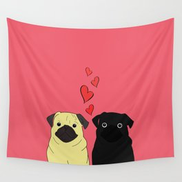 Pugs In Love Pink Wall Tapestry