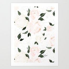 vintage blush floral Art Print