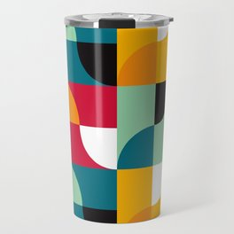Geometric Pattern #31 (yellow red green curves) Travel Mug