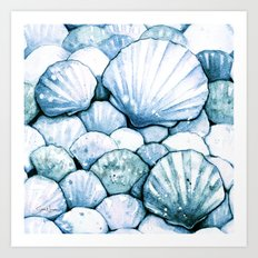 Sea Shells Teal Art Print