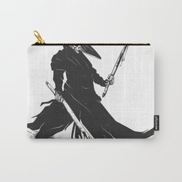 Samurai skull - japanese evil - black and white - fighter illustration - grim reaper cartoon Carry-All Pouch