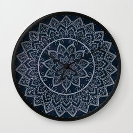 Blue Textured Lace Mandala Wall Clock