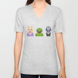 Kermit Miss Piggy And Gonzo The Muppets Pixel Unisex V-Neck