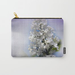 white lilac on textured background -a- Carry-All Pouch