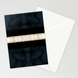 Midnight Blue Marble with Gold Glitter Ribbon Stationery Cards
