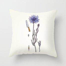 blue cornflower and knife Throw Pillow