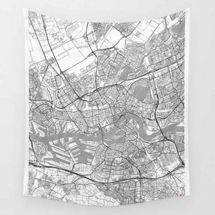 Rotterdam Map Line Wall Tapestry