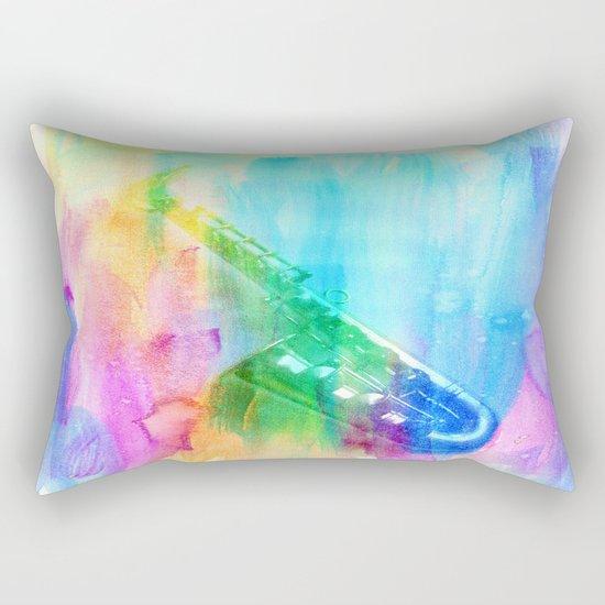 Sax Rainbow Rectangular Pillow