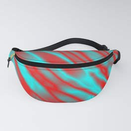 Shiny plaid metal with red intersecting diagonal lines. Fanny Pack