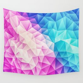 Pink - Ice Blue / Abstract Polygon Crystal Cubism Low Poly LTBG Triangle Design Wall Tapestry