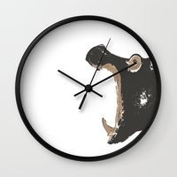 hippo Wall Clocks featuring Hippo by ialbert