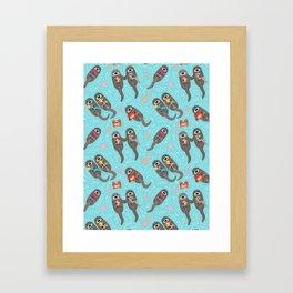 Otters Playing - Aquamarine Background Framed Art Print