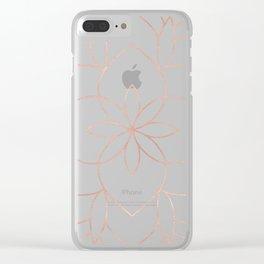 Mandala Rose Gold Pink Art Deco Clear iPhone Case