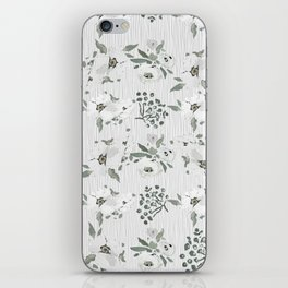Vintage white mauve green watercolor floral iPhone Skin