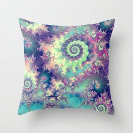 Violet Teal Sea Shells, Abstract Underwater Forest  Throw Pillow