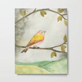 Pink Yellow Bird Metal Print
