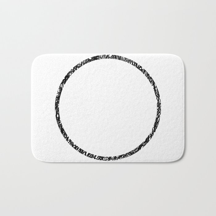 Scribble Ring - Black ink, black and white, minimalistic, ring artwork Bath Mat