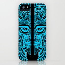 Blue and Black Aztec Twins Mask Illusion iPhone Case