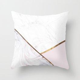 Marble Swirl Blush Pink & Bronze Throw Pillow