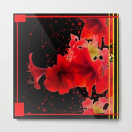 Festive Red Amaryllis on Black  Metal Print