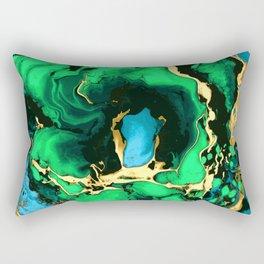 Gold green and black Marble texture acrylic paint art Rectangular Pillow