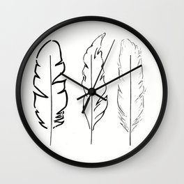 Minimalist Feathers Wall Clock